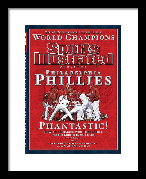 Magazine Cover Framed Print featuring the photograph Philadelphia Phillies Vs Tampa Bay Rays, 2008 World Series Sports Illustrated Cover by Sports Illustrated