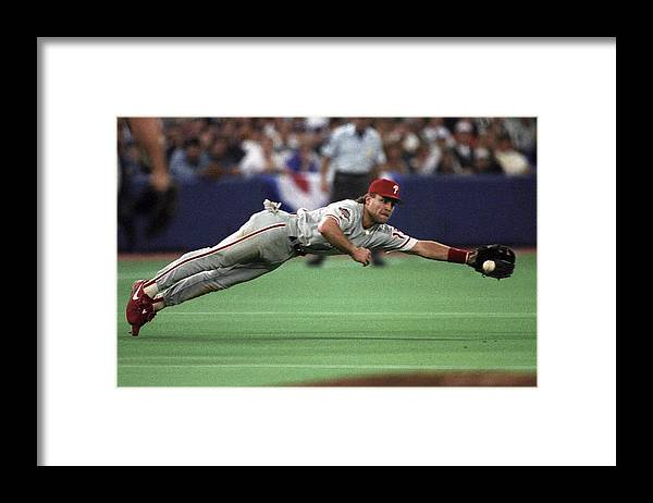 American League Baseball Framed Print featuring the photograph Philadephia Phillies V Toronto Blue Jays by Ronald C. Modra/sports Imagery