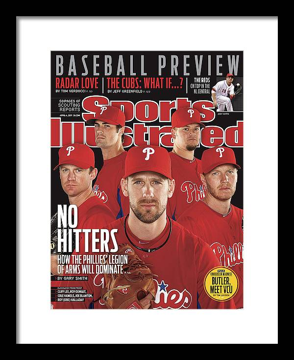 Clearwater Framed Print featuring the photograph Philladelphia Phillies Starting Five, 2011 Mlb Baseball Sports Illustrated Cover by Sports Illustrated