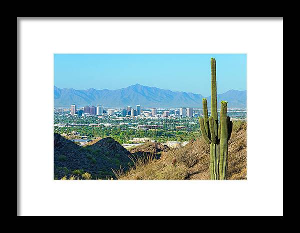Saguaro Cactus Framed Print featuring the photograph Phoenix Skyline Framed By Saguaro by Dszc