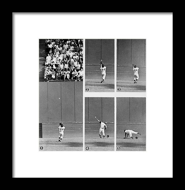 1950-1959 Framed Print featuring the photograph Photo Sequence Willie Mays Makes His by New York Daily News Archive