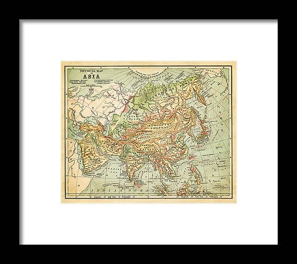 Burnt Framed Print featuring the digital art Physical Map Of Asia by Thepalmer