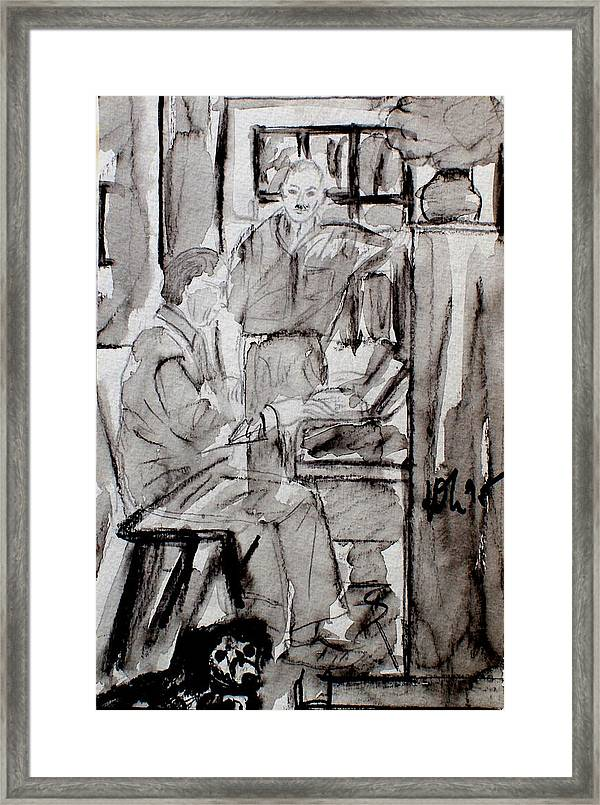 Piano Player Framed Print featuring the drawing Piano Player by Andreas Hoetzel