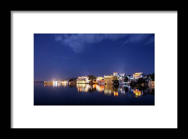 Tranquility Framed Print featuring the photograph Pichola Lake Night View by Greenlin