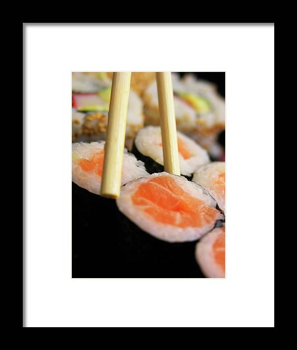 Japanese Food Framed Print featuring the photograph Picking Some Sushi by Caracterdesign