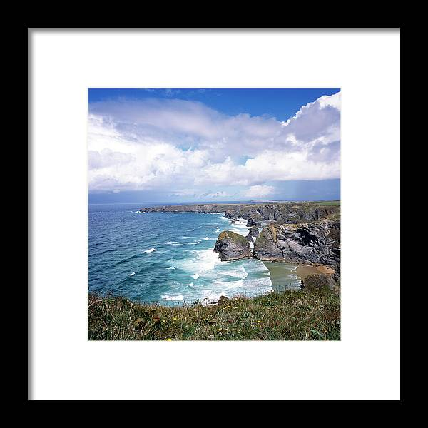 Water's Edge Framed Print featuring the photograph Picturesque Cornwall - Bedruthan by Chrisat