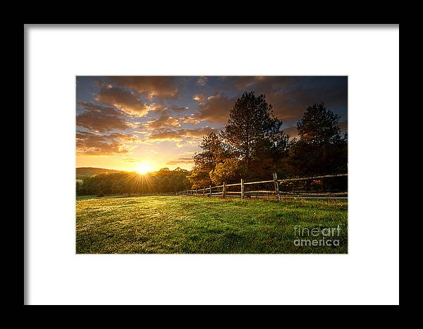 Country Framed Print featuring the photograph Picturesque Landscape, Fenced Ranch At by Gergely Zsolnai