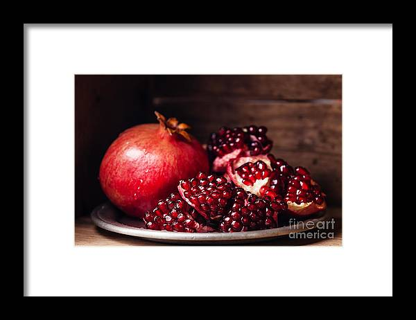 Tray Framed Print featuring the photograph Pieces And Grains Of Ripe Pomegranate by Lisovskaya Natalia
