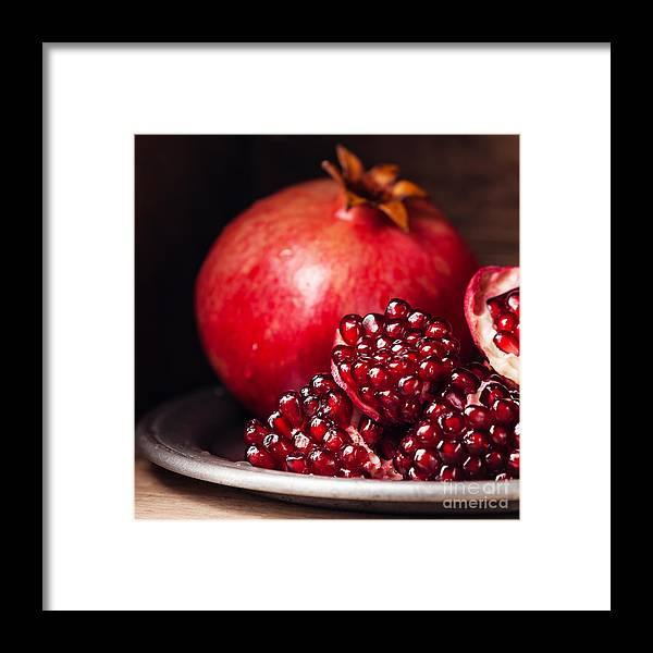Tray Framed Print featuring the photograph Pieces And Seeds Of Ripe Pomegranate by Lisovskaya Natalia