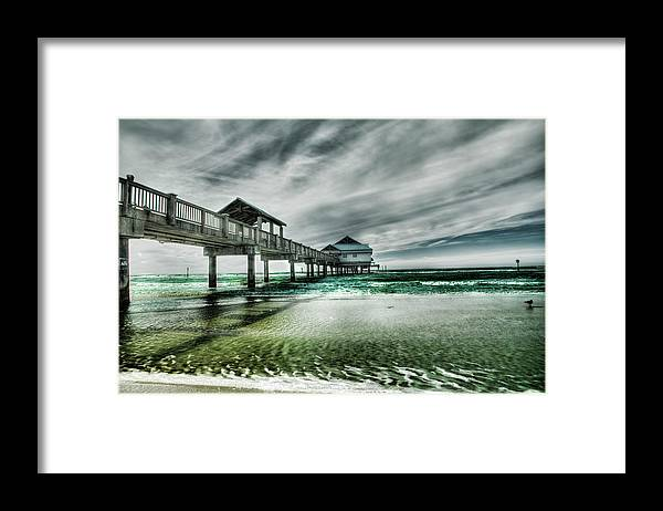 Water's Edge Framed Print featuring the photograph Pier by Chumbley Photography