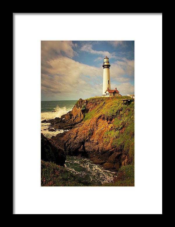 Pigeon Point Light House Framed Print featuring the photograph Pigeon Point Light Station, California by Zayne Diamond Photographic