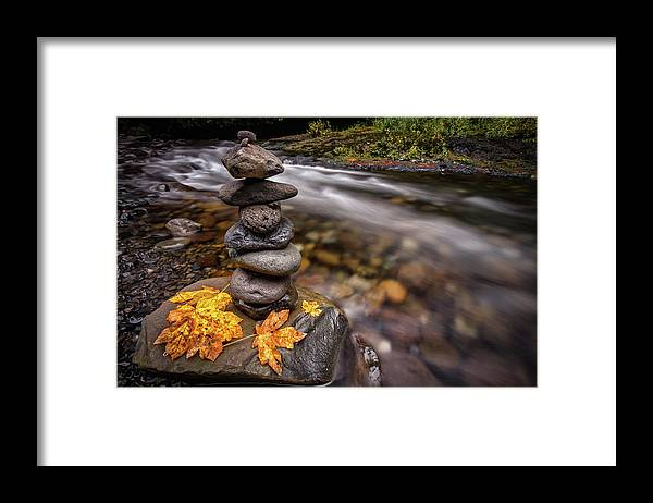 Eagle Creek Framed Print featuring the photograph Pile Of Rocks And Autumn Leaves Next To by Michael Riffle
