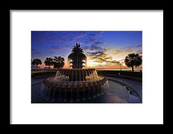 Tranquility Framed Print featuring the photograph Pineapple Fountain In Charleston by Sam Antonio Photography