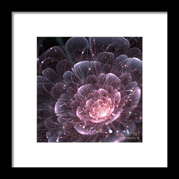 Delicate Framed Print featuring the digital art Pink Abstract Flower With Sparkles On by Anikakodydkova