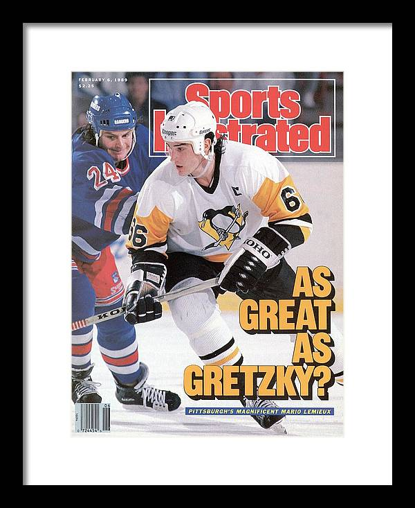 1980-1989 Framed Print featuring the photograph Pittsburgh Penguins Mario Lemeiux... Sports Illustrated Cover by Sports Illustrated