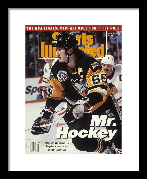 National Hockey League Framed Print featuring the photograph Pittsburgh Penguins Mario Lemieux, 1992 Nhl Stanley Cup Sports Illustrated Cover by Sports Illustrated