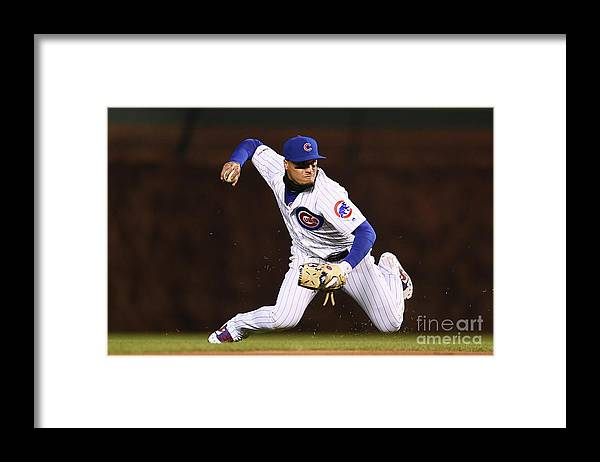 American League Baseball Framed Print featuring the photograph Pittsburgh Pirates V Chicago Cubs by Stacy Revere