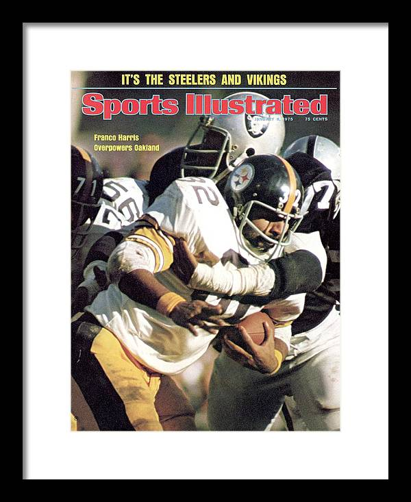 Magazine Cover Framed Print featuring the photograph Pittsburgh Steelers Franco Harris, 1974 Afc Championship Sports Illustrated Cover by Sports Illustrated