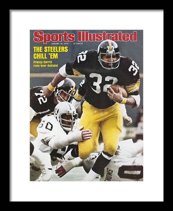 Magazine Cover Framed Print featuring the photograph Pittsburgh Steelers Franco Harris, 1976 Afc Championship Sports Illustrated Cover by Sports Illustrated