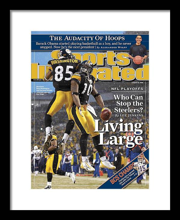 Magazine Cover Framed Print featuring the photograph Pittsburgh Steelers Nate Washington And Santonio Holmes Sports Illustrated Cover by Sports Illustrated