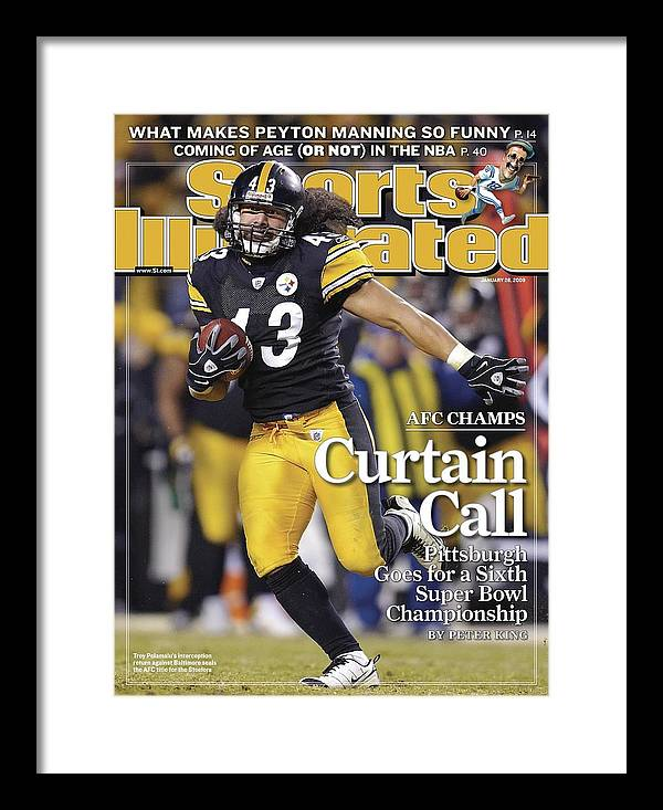 Magazine Cover Framed Print featuring the photograph Pittsburgh Steelers Troy Polamalu, 2009 Afc Championship Sports Illustrated Cover by Sports Illustrated