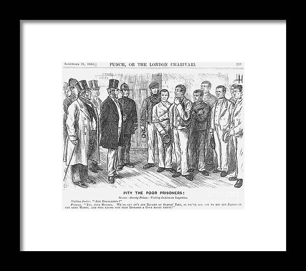 Engraving Framed Print featuring the drawing Pity The Poor Prisoners, 1868. Artist by Print Collector