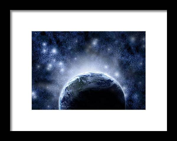 Outdoors Framed Print featuring the digital art Planet Earth And Stars by Nicholas Monu