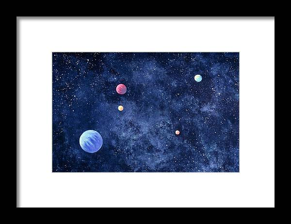 The Media Framed Print featuring the photograph Planets In Solar System by Huntstock