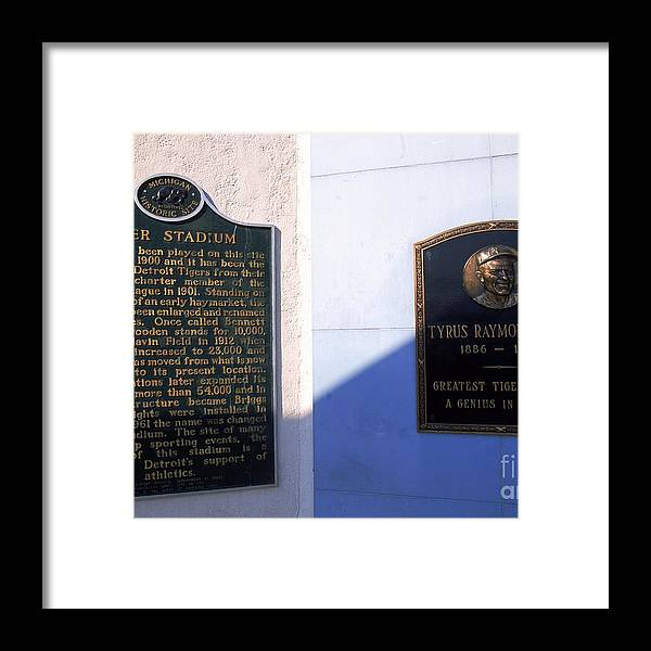 American League Baseball Framed Print featuring the photograph Plaque by Ezra Shaw