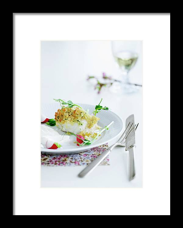 White Background Framed Print featuring the photograph Plate Of Crusted Fish by Line Klein