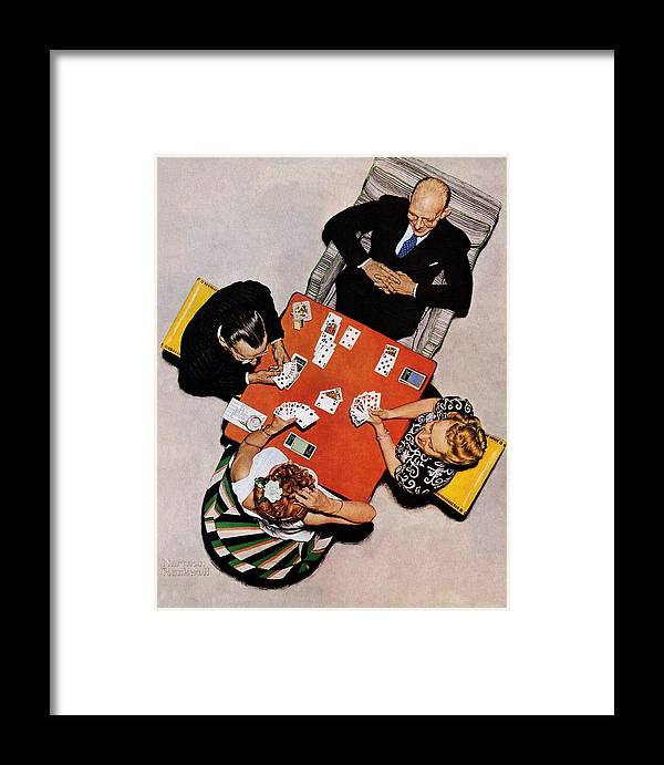 Bridge Framed Print featuring the drawing Playing Cards by Norman Rockwell