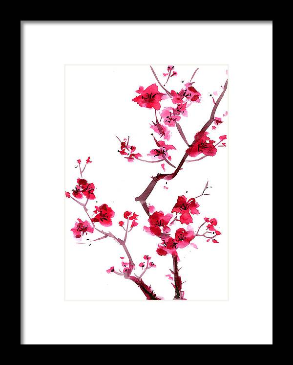 Watercolor Painting Framed Print featuring the digital art Plum Blossom Painting by Kaligraf