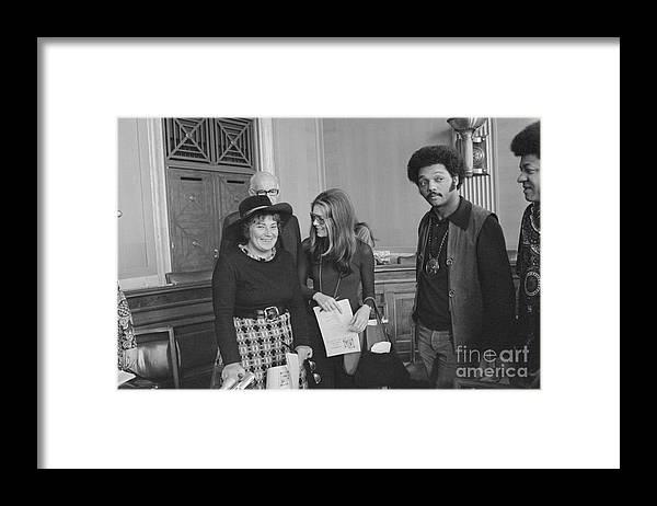 Mature Adult Framed Print featuring the photograph Politician Bella Abzug With Gloria by Bettmann