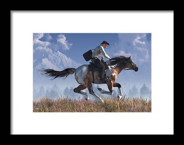 Pony Express Framed Print featuring the digital art Pony Express Rider by Daniel Eskridge