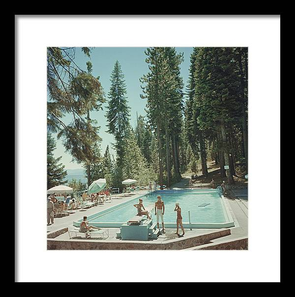 People Framed Print featuring the photograph Pool At Lake Tahoe by Slim Aarons
