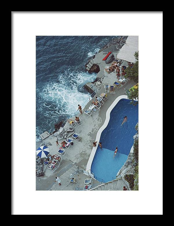 1980-1989 Framed Print featuring the photograph Pool On Amalfi Coast by Slim Aarons