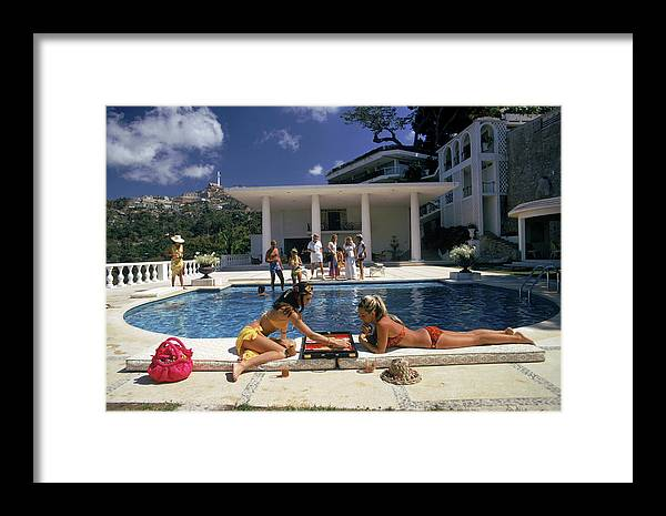 People Framed Print featuring the photograph Poolside Backgammon by Slim Aarons