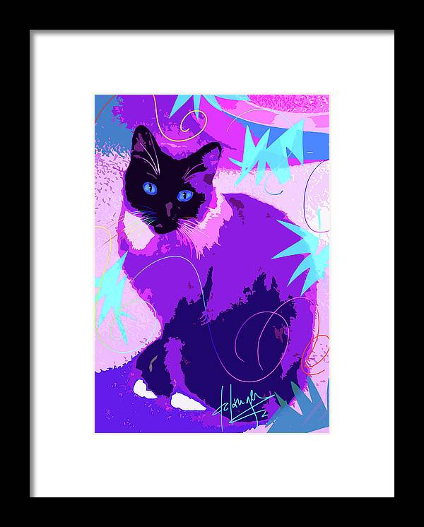Dizzycats Framed Print featuring the painting Pop Cat Cocoa by DC Langer
