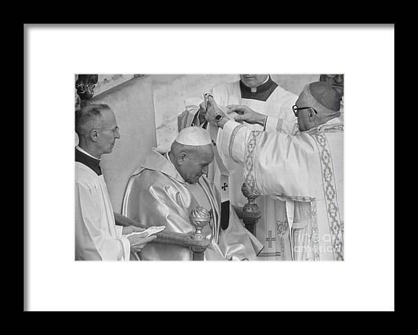 Mature Adult Framed Print featuring the photograph Pope John Paul II Receiving Pallium by Bettmann