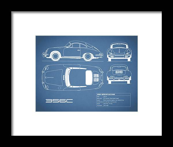 Porsche Framed Print featuring the photograph Porsche 356 C Blueprint by Mark Rogan