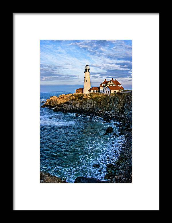 Built Structure Framed Print featuring the photograph Portland Head Light by C. Fredrickson Photography