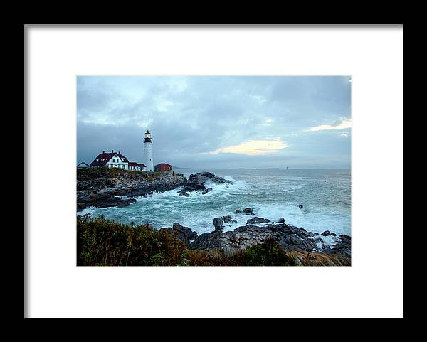 Dawn Framed Print featuring the photograph Portland Head Lighthouse At Sunrise by Thomas Northcut