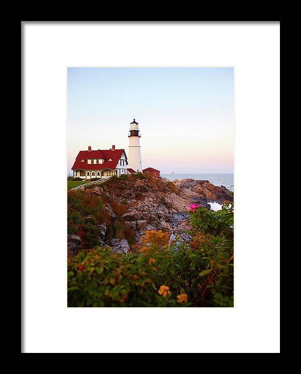 Clear Sky Framed Print featuring the photograph Portland Head Lighthouse At Susnet by Thomas Northcut