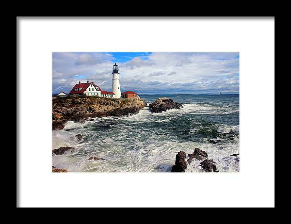 Tranquility Framed Print featuring the photograph Portland Head Lighthouse by Jeremy D'entremont, Www.lighthouse.cc