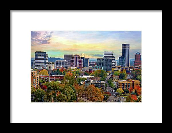 Viewpoint Framed Print featuring the photograph Portland Oregon Downtown Cityscape In by David Gn Photography