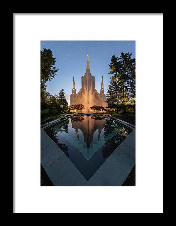 Latter Day Saints Framed Print featuring the photograph Portland Temple Night by Dustin LeFevre