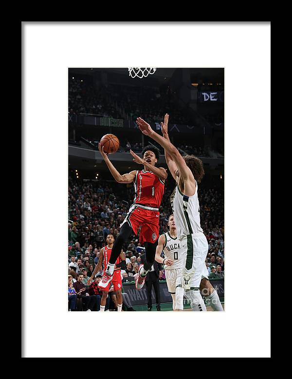 Nba Pro Basketball Framed Print featuring the photograph Portland Trail Blazers V Milwaukee Bucks by Gary Dineen
