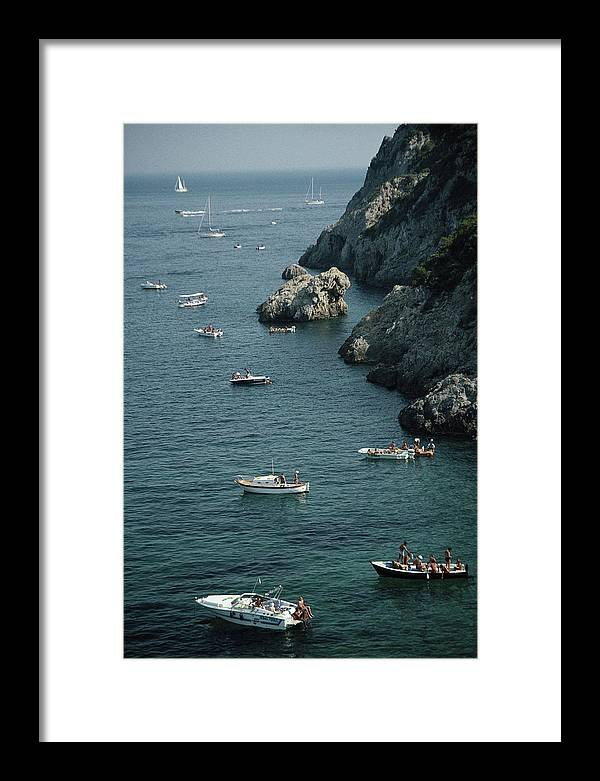 Motorboat Framed Print featuring the photograph Porto Ercole Boats by Slim Aarons