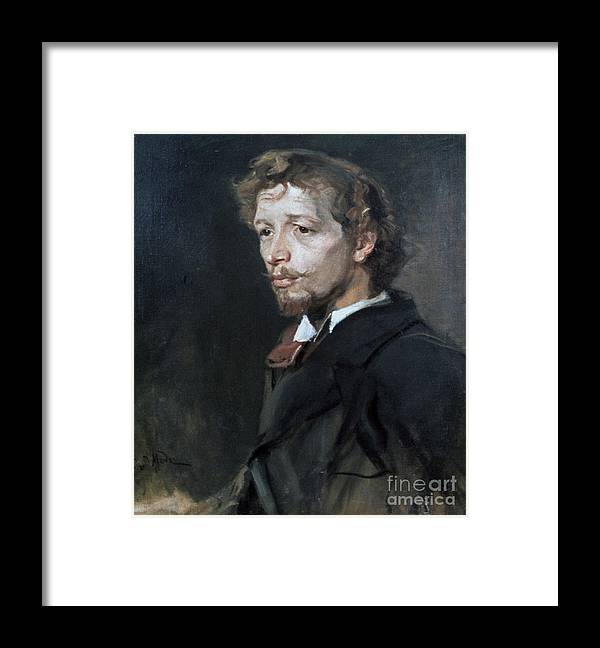 People Framed Print featuring the drawing Portrait Of A Young Man, C1880. Artist by Print Collector
