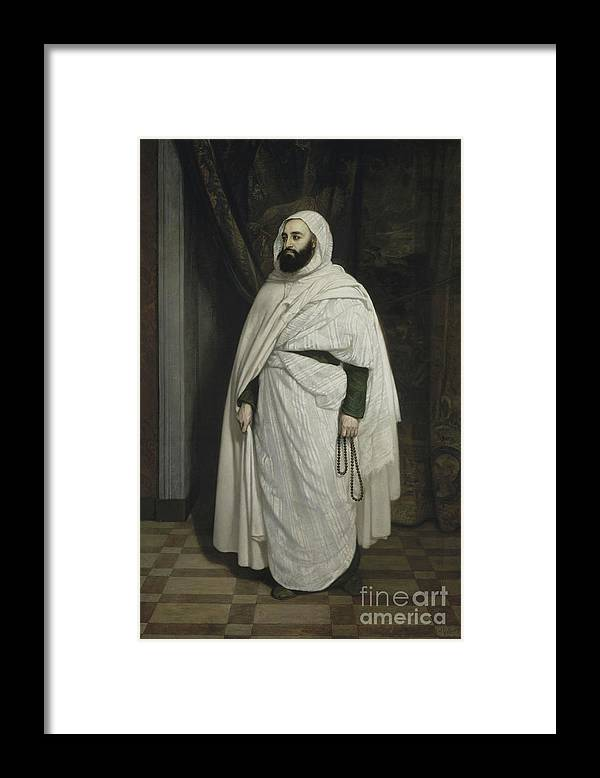 Oil Painting Framed Print featuring the drawing Portrait Of Abdelkader Ibn Muhieddine by Heritage Images